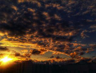 sky clouds sun sunset city