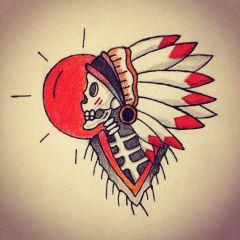 drawing native sketch skull