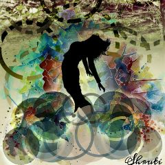 silhouette colorful circles freedom emotions