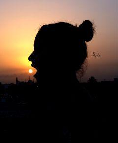 sun sunrise silhouette summer girl